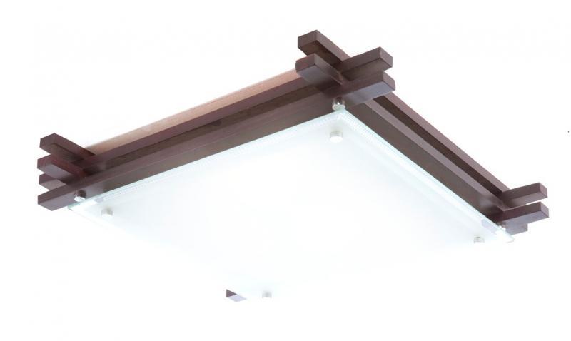 Plafonier cu lemn inchis 40x40cm Edison 48324-2