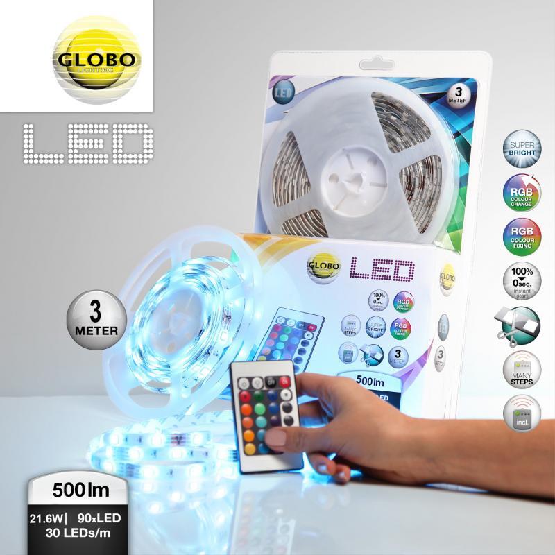 Banda 3m, IP44, LED color change, telecomada LED BAND 38991 Globo Lighting