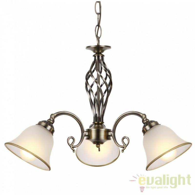 Candelabru clasic cu 3 brate, finisaj brass antique, Odin 60208-3 Globo Lighting