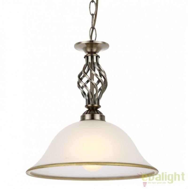 Lustra, Pendul clasic diam.30cm, finisaj brass antique, Odin 60208H Globo Lighting, corpuri de iluminat, lustre